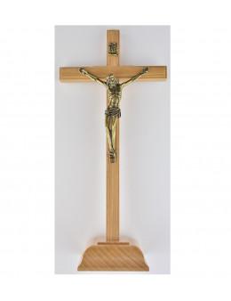 Crucifix sur pied / calvaire / croix en bois clair 22 cm