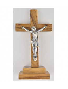 Crucifix sur pied ou calvaire bois d'olivier 13 cm