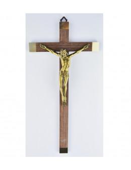 Crucifix / croix en bois 30 cm et christ en bronze