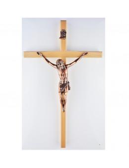 Crucifix / croix en bois clair 45 cm et Christ en cuivre