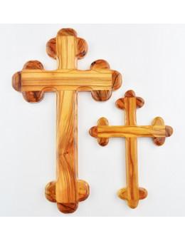 Croix fleur de lys en bois d'olivier