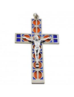 Croix métallique vitrail avec Christ