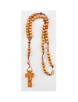 Chapelet corde en bois avec croix celtiques émaillées rouges