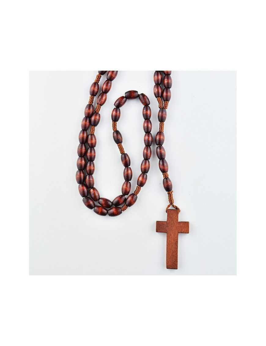 Chapelet corde avec perles ovales en bois rouge