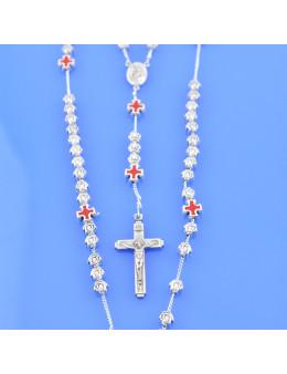 Chapelet métallique Sainte Rita avec croix celtiques émaillées rouges