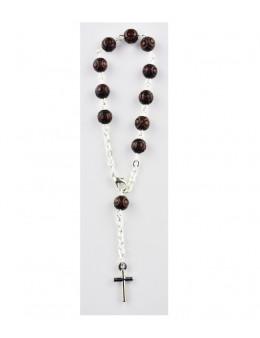 Dizainier avec chaîne argentée et perles marrons imitation bois