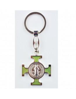 Porte-clés Saint Benoit croix celtique avec émail phosphorescent
