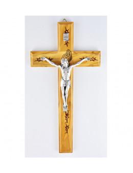 Crucifix / croix en bois sérigraphié avec Christ argenté
