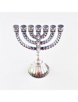 Ménorah ou chandelier à 7 branches - 7,5 cm métal argenté