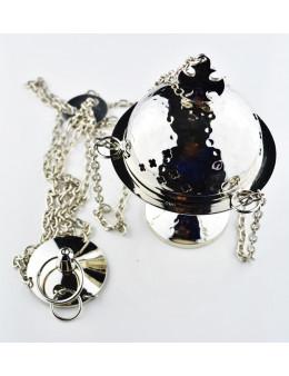 Encensoir à chaînette en métal brillant argenté travaillé avec croix