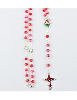 Chapelet cristal rouge avec fleurs et fermoir mousqueton