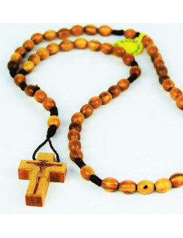 Chapelet dominicain corde avec perles ovales en bois d'olivier - Petit modèle