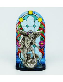 Vitrail statuette Saint Michel métal argenté