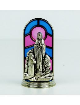 Vitrail statuette métal argenté