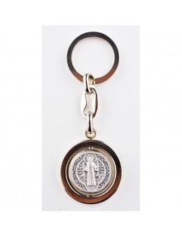 Porte-clés Saint Benoit tournant en métal argenté