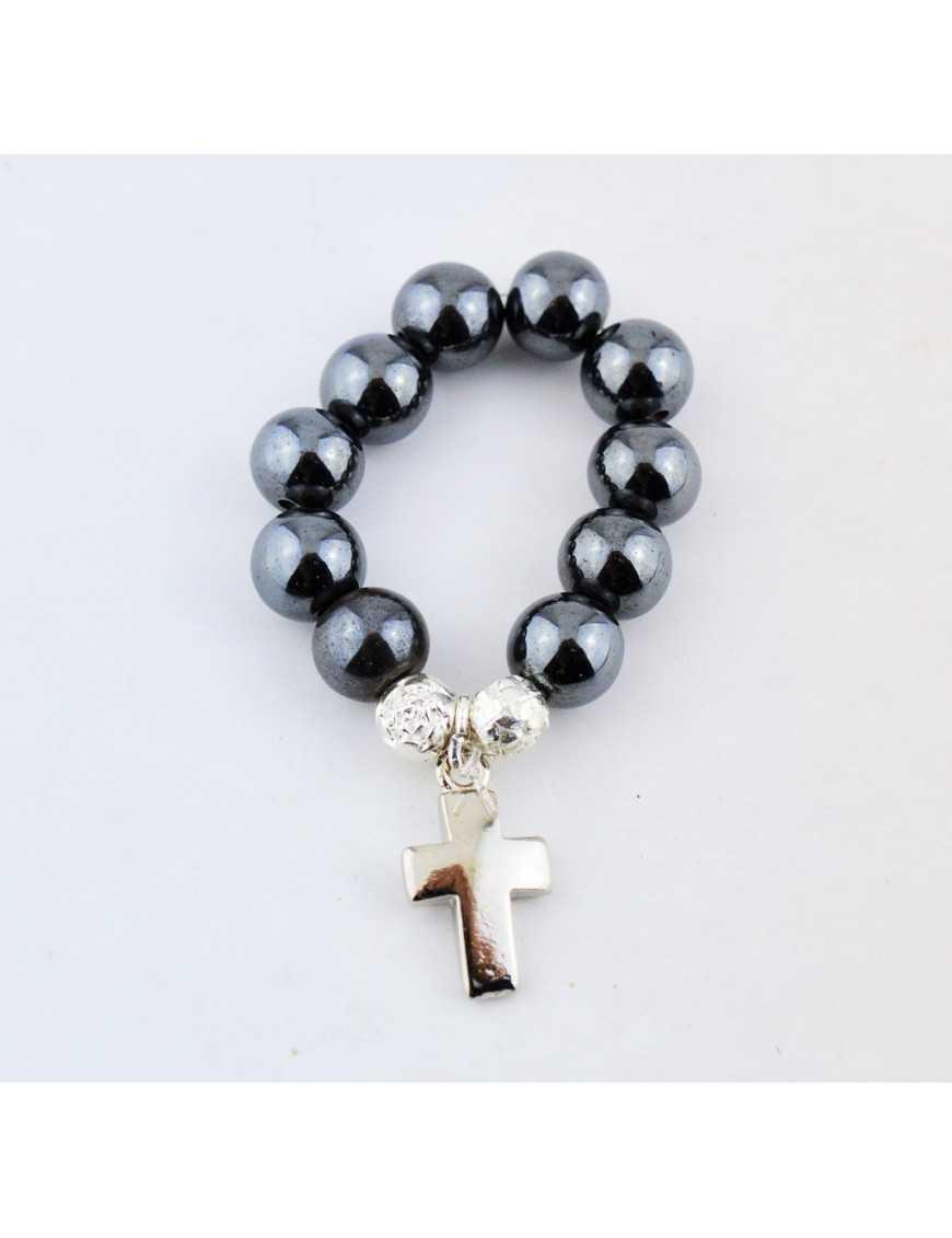 Dizainier élastique avec perles en hématite véritable et croix en métal argenté