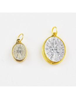 Médaille ovale Vierge Miraculeuse en métal argenté et doré