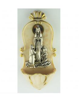 Bénitier en résine beige avec Apparition en métal argenté