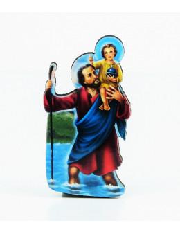 Magnet autocollant Saint Christophe en bois