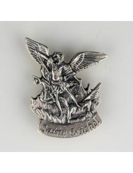 Magnet autocollant Saint Michel en métal argenté