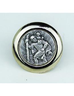 Magnet Saint Christophe rond en métal argenté