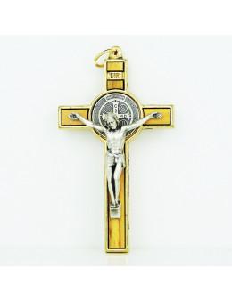 Crucifix Saint Benoit en métal doré et bois d'olivier