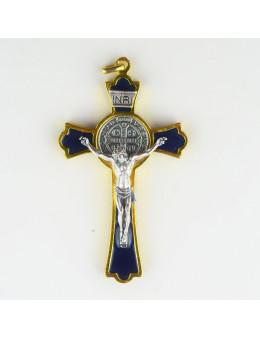 Croix Saint Benoit en métal doré et émail coloré
