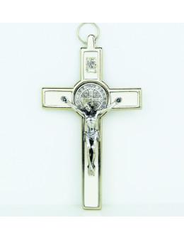 Croix Saint Benoit en métal chromé et émail coloré 13 cm