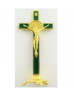 Crucifix Saint Benoit métal doré et émail vert 20 cm