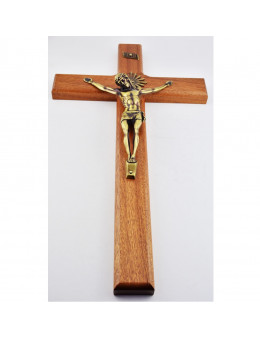 Grand crucifix / grande croix bois avec Christ en métal 50 cm
