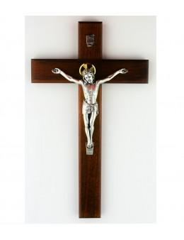 Crucifix / croix en bois avec Christ en métal argenté
