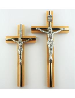 Crucifix / croix en bois naturel et métal