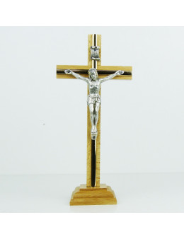 Crucifix sur pied ou calvaire en bois naturel et métal