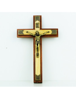 Crucifix / croix avec double bois et métal 20 cm