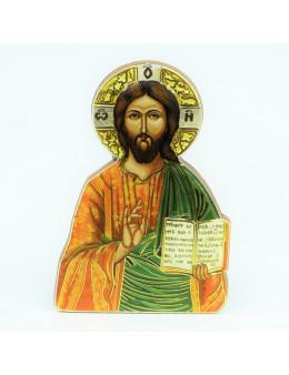 Magnet en bois Christ Pantocrator 7 cm
