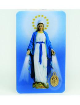 Carte plastifiée prière avec poinçons style médaille Vierge Miraculeuse