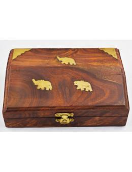 Boite en bois avec incrustation éléphants en cuivre 15x10