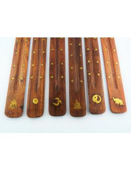 Porte-encens en bois incrusté de motifs en cuivre