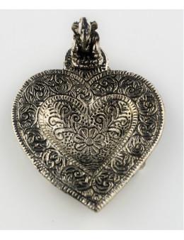 Brûle-encens Ganesha en métal en forme de coeur