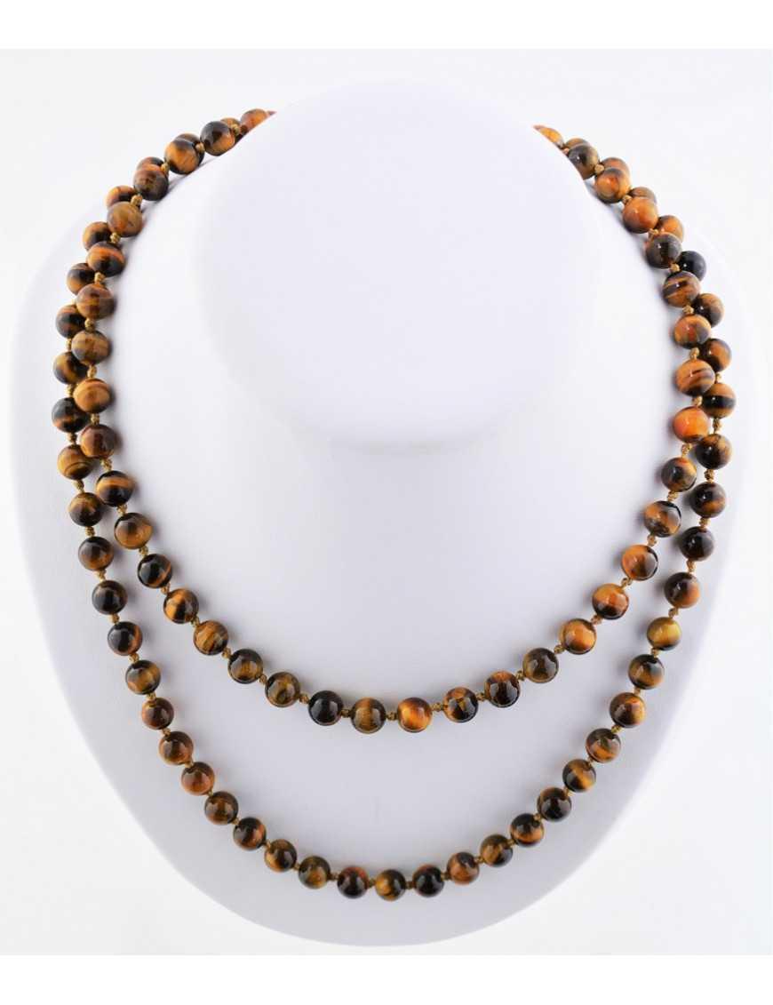 Collier 108 cm perles rondes oeil de tigre avec cordon et fermoir