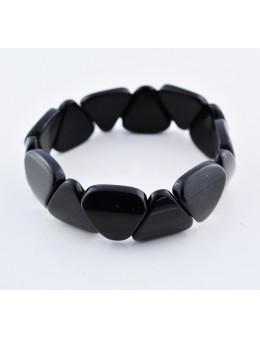 Bracelet élastique - pierres triangulaires - Obsidienne noire