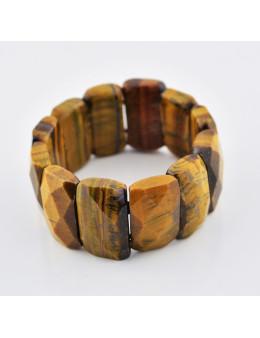Bracelet élastique en pierres facettées oeil de tigre