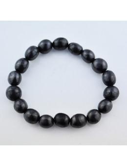 Bracelet perles shungite ovales 10 mm
