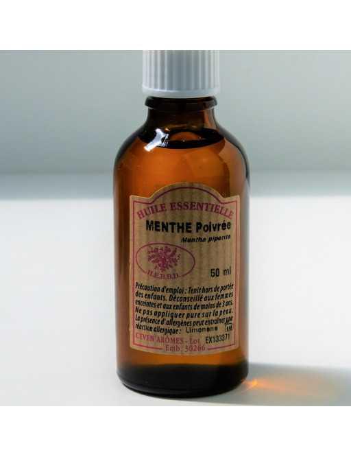 Huile essentielle de Menthe poivrée 50 ml avec Compte-gouttes