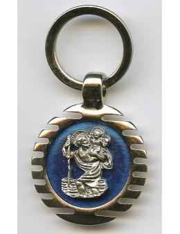 Porte clés rond Saint Christophe émaillé bleu.