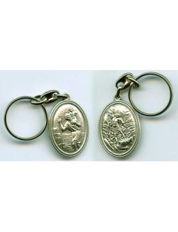 Porte clés ovale relief Saint Christophe+Saint Michel