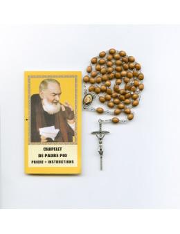 Chapelet Padré Pio grains bois croix du Pape