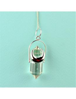 Pendule métal croissant de lune argenté et cristal de roche facetté