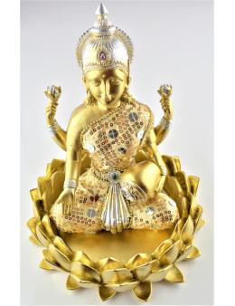 Statuette Lakshmi doré assise dans lotus