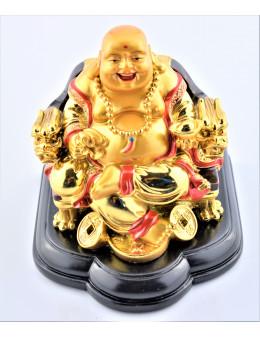 Bouddha doré assis sur socle bois